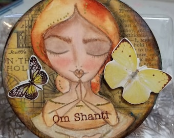 OM Shanti ORIGINAL art. Meditation pose. Eyes closed.