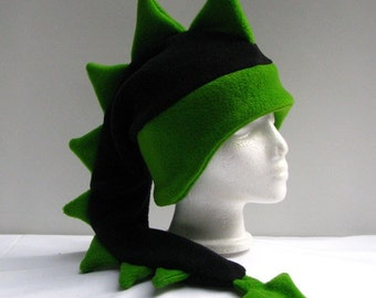 Dragon Hat - Black / Green Fleece Dinosaur Mens Womens Hat by Ningen Headwear