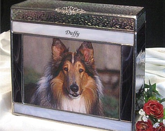"""Pet Urn Large #7A Photo Frame Pet Cremation Urns in Stained Glass - accepts a 5"""" x 7"""" photo"""