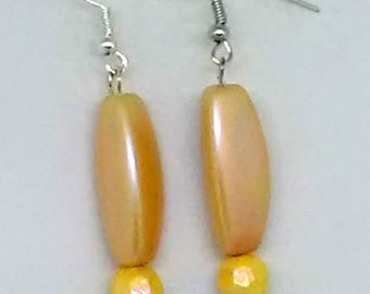Yellow Triangle Tube and Faceted Round Beaded Earrings