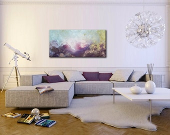 Large Wall Art, Seascape, Horizontal Abstract Painting, Living Room Decor,  Acrylic Painting
