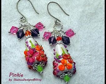 Ivory Pink Apricot Earrings,Cone Earrings,Lampwork Earrings,Dangle,Glass,Colorful Earrings,Floral Earrings - PINKIE