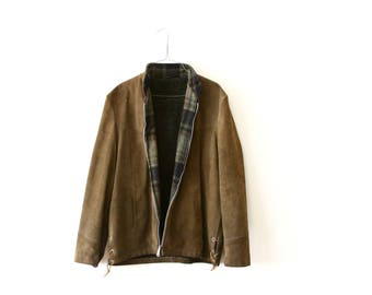 mens olive brown leather jacket - plaid wool and suede leather moto jacket - Silton California - country western - medium large
