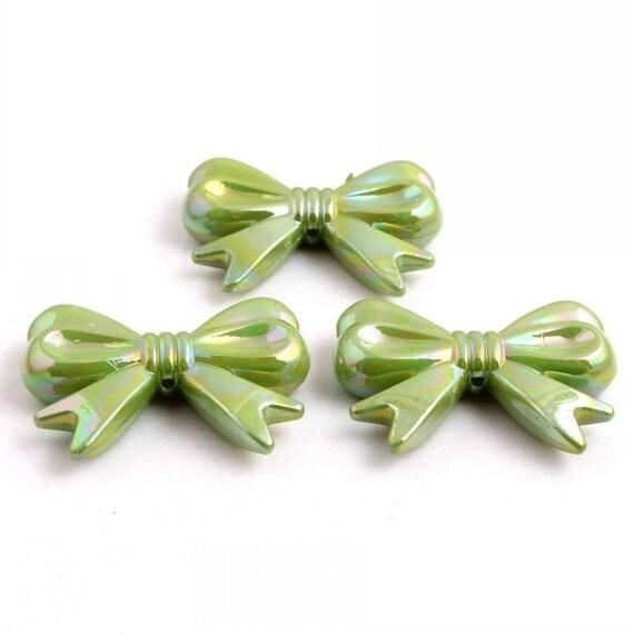 MajorCrafts® 4pcs Olive Green AB 46*36mm Large Chunky Acrylic Embellishment Bows C8