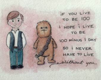 Han and Chew print - Han Solo and Chewbacca print - Star Wars print