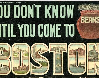 Boston Baked Beans Massachusetts Large Letter Vintage Postcard 1908