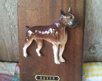 Vintage 3D Boxer Dog Ceramic Figurine wall Decoration