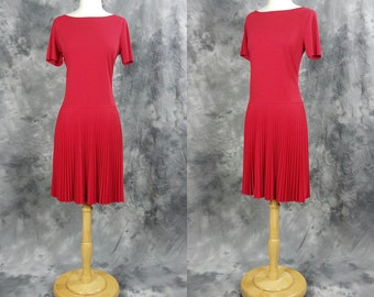 Red pleated dress, short sleeve, mod, A line Allen B dress, medium, size 8