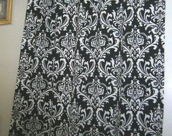 Pair (2 panels) designer drapes, curtain panels, Premier prints ozborne ozbourne, black and white, cotton