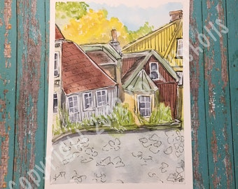 Autumn in Oslo - Original Watercolour and Ink Painting by Cori Nicholls
