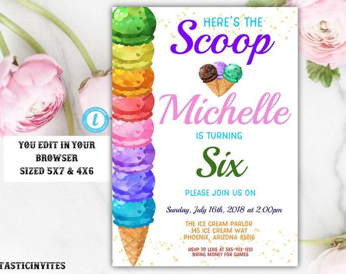 Ice Cream Birthday Party Invitation Template, Ice Cream Template, Instant Download, Editable, Summer Birthday Invitation, Ice Cream, DIY