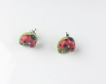 Porcelain Ladybird stud sterling silver earring/ Ladybird earrings/ stud earrings/ ceramic earrings/ porcelain earrings/ earrings/ Ladybird