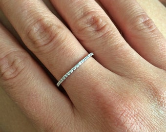 1.3mm super thin HALF Eternity Band 14K White Gold Micro Pave