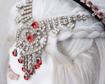 Queen of Hearts Crown   Alice in Wonderland Wedding, Red Queen Costume, Renaissance Circlet, Flapper Headpiece, Crystal Hair Piece