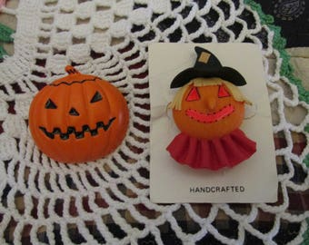 Pair of Vintage Halloween Pumpkin Jack-O-Lantern and Scarecrow Pins Brooches Whimsical Holiday Jewelry