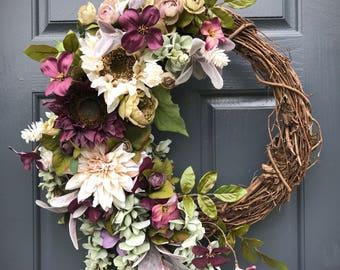 Fall Wreaths, Fall Door Wreaths, Fall Door Decor, Purple, Fall Decorating, Front Door Wreaths Fall, Fall Decor, Sunflower Wreaths, Fall Door