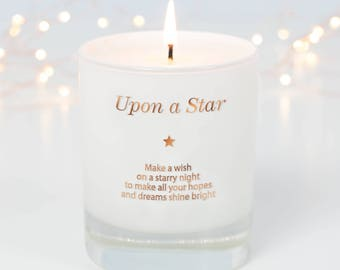 Make A Wish Upon A Star candle, Inspirational Quote, Scented Candle, Friendship Gift, Friend Birthday Gift, Upon A Star, Christmas Gift Idea