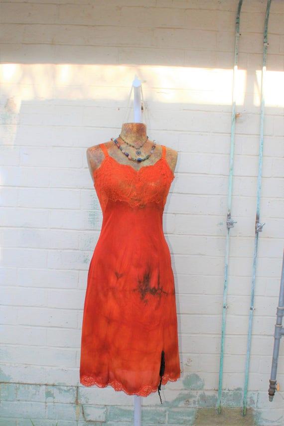 Orange Slip Dress/Tie Dye dress/Ecru Rustic Wedding/Music festival/Tie Dye Sundress/Rustic Brown and tangerine Tie Dye/Hippie Chic/Freedom