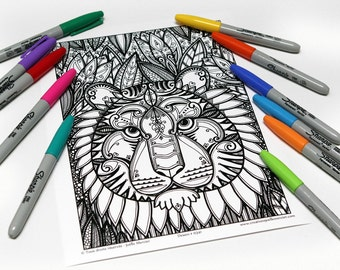 Mandala coloring, drawing #0341 printed on cardstock, coloring for relaxation, Tiger love