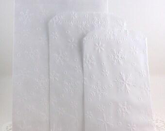 Snowflake Embossed Paper Bags, Silverware Bags, Party Favor Bags, Wedding Favor Bags, Candy Bags, Cookie Bags