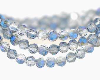 Round Crystal Glass Faceted beads 6mm Sparkle Blue -(32QZ06-38)/ 95pcs