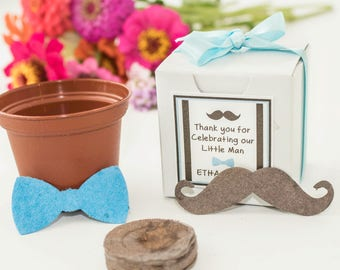 Mustache Bow Tie Baby Shower Favor Mini Flower Garden Gift Set - Personalized Plantable Seed Paper Mustache or Bow Tie for Boy Baby Showers