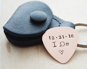Hand Stamped Guitar Pick - I Do - Custom Guitar Pick & Case - Customized Wedding Date Pick - Leather Case Keychain
