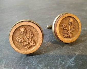 Scottish Thistle Wooden Button Cufflinks