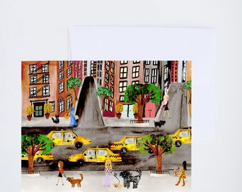New York City Scene - Girls and Dogs - Blank Cards - Painted - Friendship - Greeting Card - A-2 Single Card