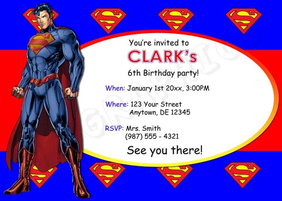Invitación de cumpleaños de Superman para imprimir