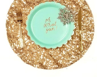 SALE 1 DAY SHIP 16  Gold Sequin Placemats Sparkly Place Mats Christmas Dining Decor Gold Elegant Dinnerware Sale Glitter Plates Wedding  sc 1 st  Etsy & Gold dinnerware | Etsy