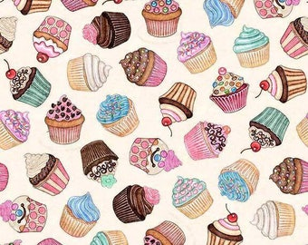 Home Sweet Home, Cupcakes on Ecru Cream cotton woven fabric