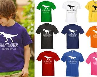 T-Rex Kids Personalised Dinosaur T-Shirt - Any Name and Date Children's Birthday Dino