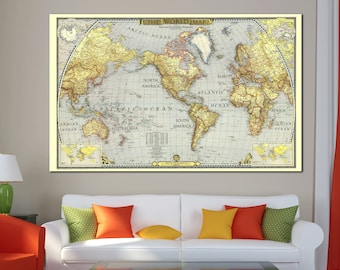 World map canvas etsy large old detailed world map canvas print vintage world map wall art for home office gumiabroncs Image collections