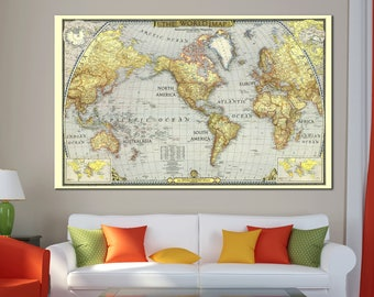 World map canvas etsy large old detailed world map canvas print vintage world map wall art for home office gumiabroncs Images