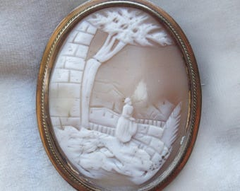 Victorian Large Cameo Pin In Silver