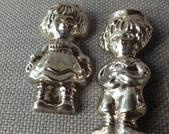 Raggedy Ann and  Raggedy Andy Sterling 925 Silver Figural Doll Pin Brooches/ pendant.