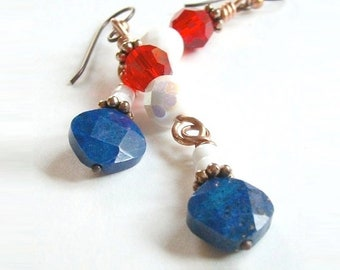 Red White & Blue Earrings, July 4th Patriotic American Jewelry, Long Dangles Shoulder Dusters, Lapis Lazuli Gemstone, US Holidays USA E122