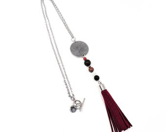 Stainless steel chain necklace with burgundy leather tassel and leopardskin jaspe