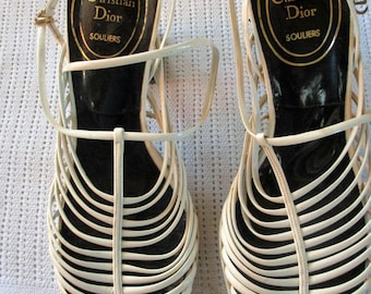 """1960s Strappy white patent Leather chunky 2.5"""" heel sandle by Christian Dior Size 4.5"""