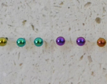 Titanium Stud Earrings 3mm - Choose a color! Completely nickel free and hypoallergenic.
