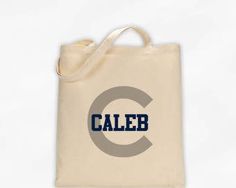 Initial and Name Cotton Canvas Personalized Tote Bag - Boys Monogram Sports Bag in Navy and Gray on Natural Color Bag (3006)
