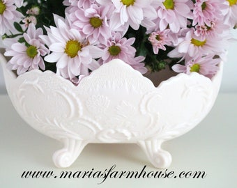 BOWL, Vintage Shell Pink Milk Glass Oval Embossed Bowl by Jeannette Glass Co., Gifts for Her, High Tea Party