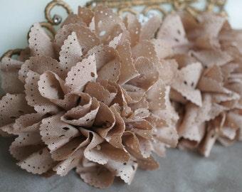 2 Beige Eyelet Flower - Fabric Flower - Vintage Chiffon Flower - Lace rose - Wholesale flowers - Lace Flower - Eyelet Fabric Flower