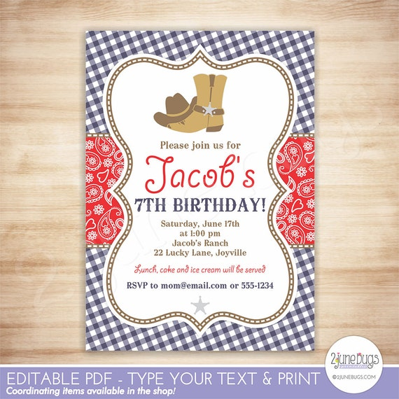 Cowboy Birthday Party Invitation Template Red Blue Paisley