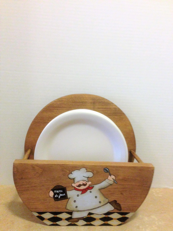 Paper Plate Holder Chef Decor Chef Kitchen Decor Wooden Plate Holder Chef Kitchen Chef Themed Decor Storage for Plates Plate Storage & Paper Plate Holder Chef Decor Chef Kitchen Decor Wooden Plate ...