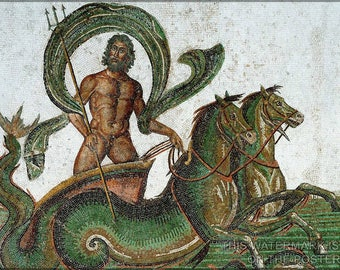 Poster, Many Sizes Available; Neptune  Drawn By Hippocamps (250 Ad Poseidon