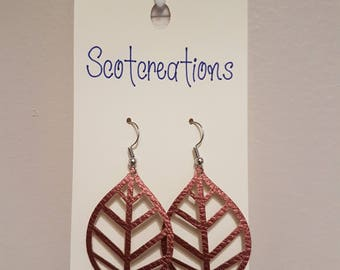 Faux Leather Leaf Earrings - Copper with Silver Plated Hooks