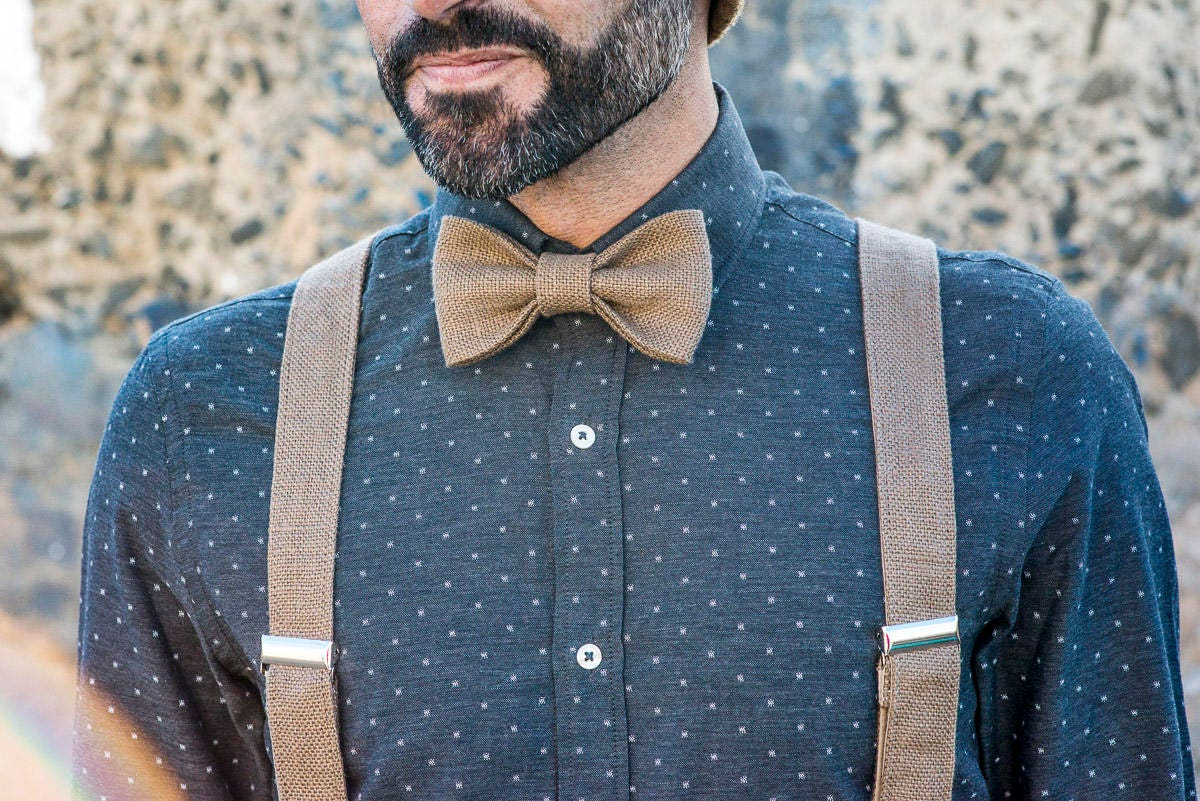 Groom wedding suspenders and suit bow tie, wedding outfit, suit ...