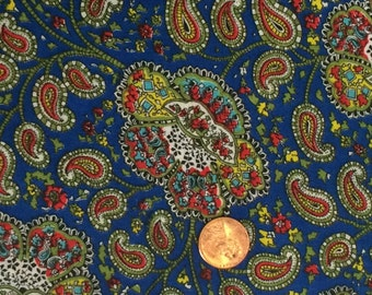 Paisley Fabric / Polyester Fabric / Blue Paisley Fabric / Quilting Fabric / 1 and 3/4 Yards